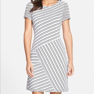 Mesh stripe shift dress